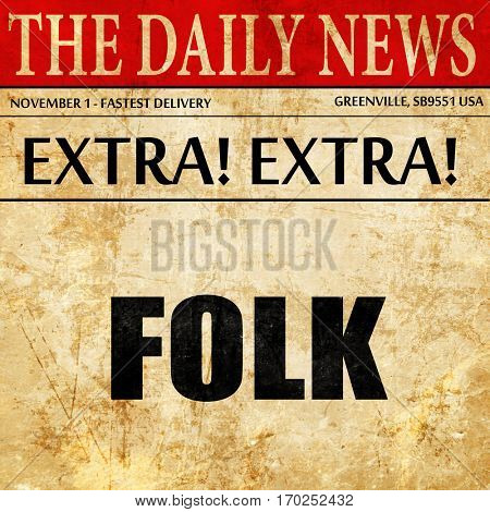 folk music, newspaper article text