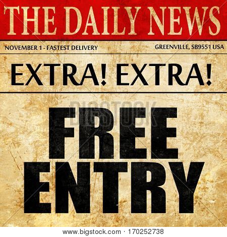 free entry, newspaper article text