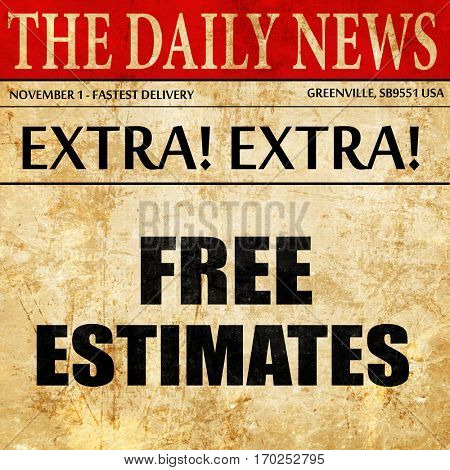 free estimate, newspaper article text