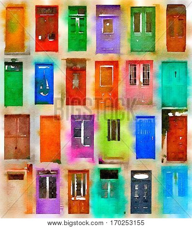 Digital watercolour of 24 colourful doors