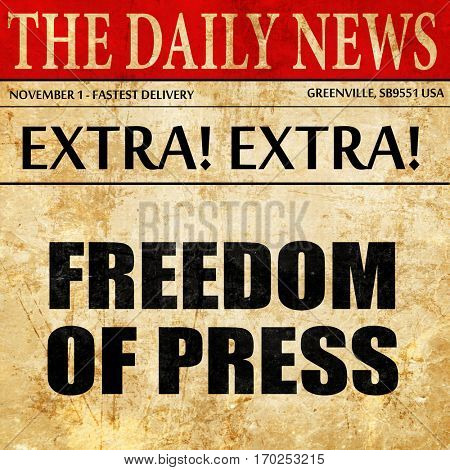 freedom of press, newspaper article text
