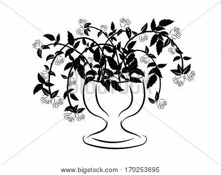 Black and white silhouette of vase with roses. Floral ornament of black and white roses. Tattoo floral ornament. Black and white floral ornament for design.