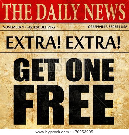 get one free, newspaper article text