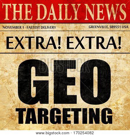 geo targeting, newspaper article text