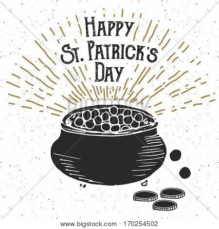 Vintage Label, Hand Drawn Leprechauns Pot Of Gold Coins, Happy Saint Patricks Day Greeting Card, Gru