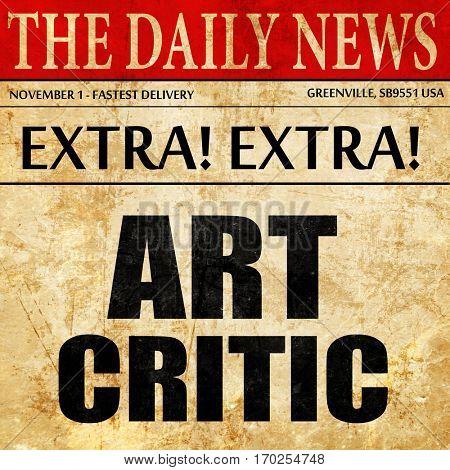 art critic, newspaper article text