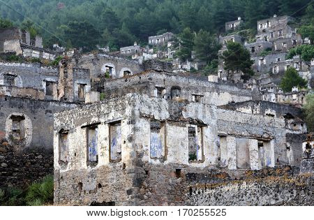 Ghost town of Kayakoy (Turkey) view background