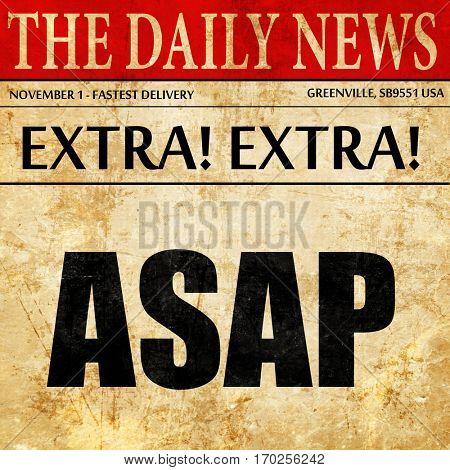 asap, newspaper article text