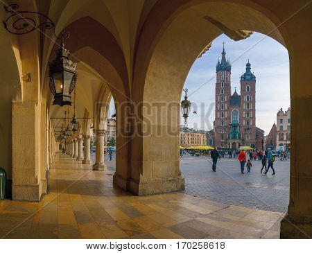 St. Mary's basilica at the Market square in Krakow Poland