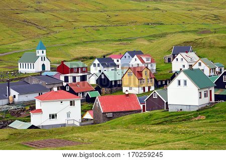 Village of Gjogv on the Faroe Islands