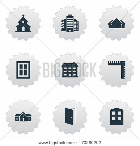 Set Of 9 Simple Structure Icons. Can Be Found Such Elements As Construction, Popish, Superstructure And Other.