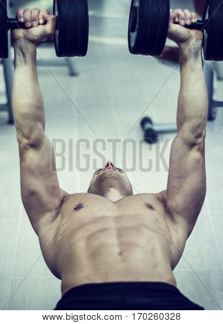 Muscular young man shirtless, lifting dumbbells training pecs on gym bench. Unrecognizable person