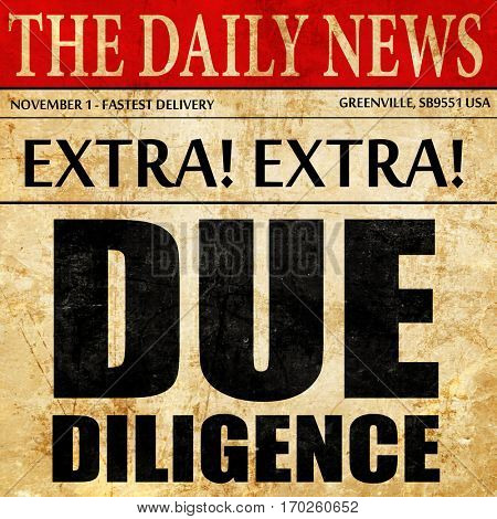 due diligence, newspaper article text
