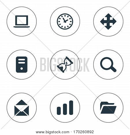 Set Of 9 Simple Application Icons. Can Be Found Such Elements As Arrows, Watch, Dossier And Other.