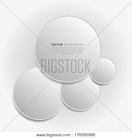 Paper circle background with drop shadows. Vector abstract illustration.