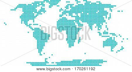 Use it in all your designs. World map atlas background in flat dotted style in circular shapes. Quick and easy recolorable shape. Vector illustration a graphic element