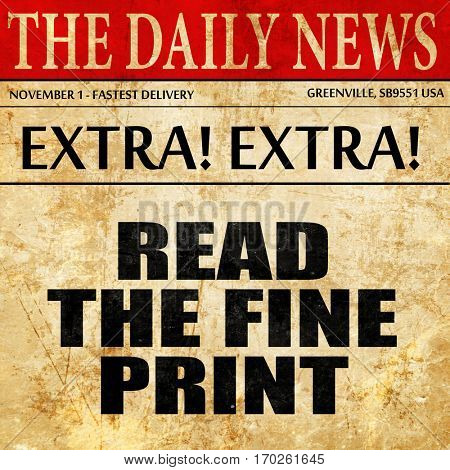 read the fine print, newspaper article text