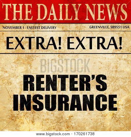 renter's insurance, newspaper article text