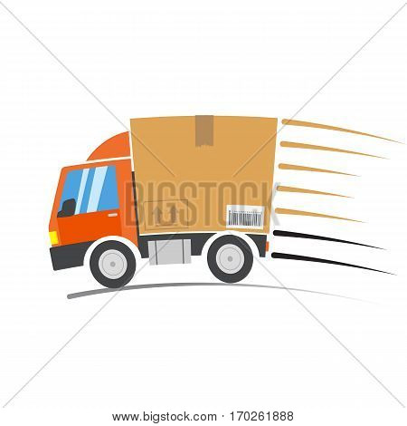 Fast delivery truck with motion lines, vector illustration.