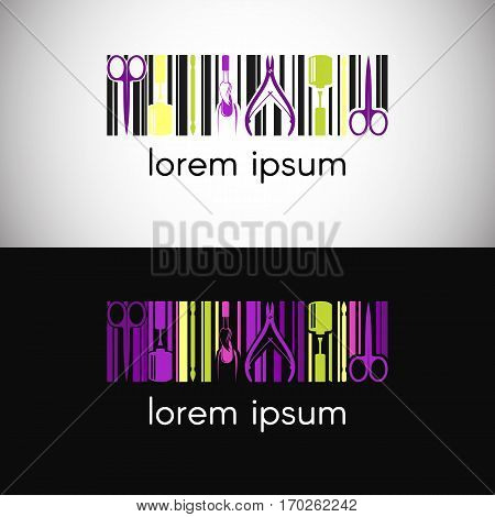 Vector logo for nail design company with business name card and corporate pattern in geometric style. Branding concept