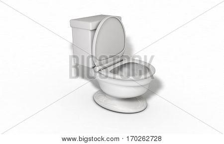 Water closet white background 3d render work