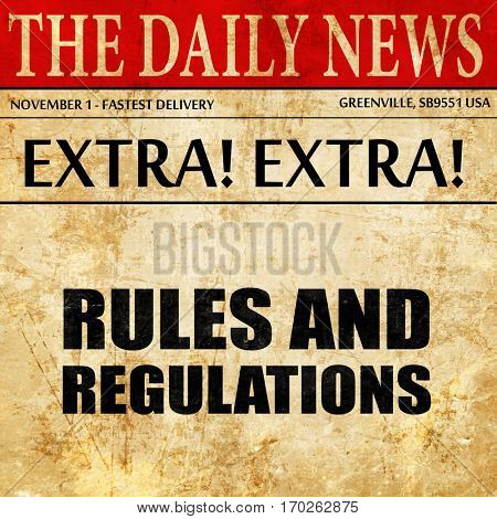 rules and regulations, newspaper article text