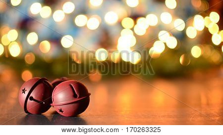 Jingle Sleigh bells with glowing bokeh background