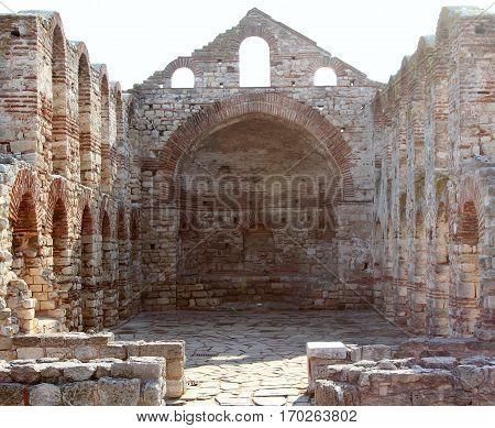 Ruined church of St Sofia in Old Town Nesebar Bulgaria