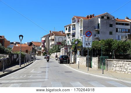 VODICE, CROATIA - SEPTEMBER 6, 2016: Here is the modern part of the small seaside town of Dalmatia.