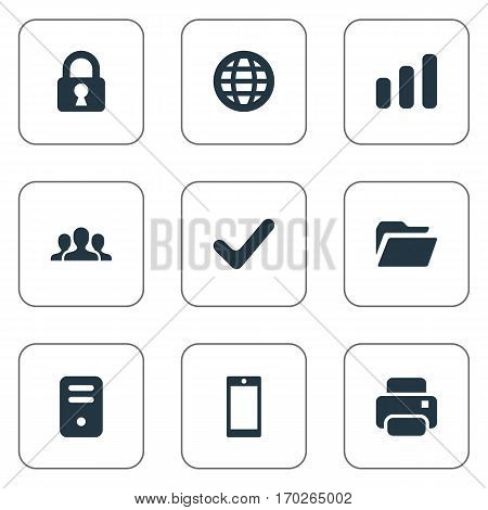 Set Of 9 Simple Apps Icons. Can Be Found Such Elements As Printout, Smartphone, Web And Other.