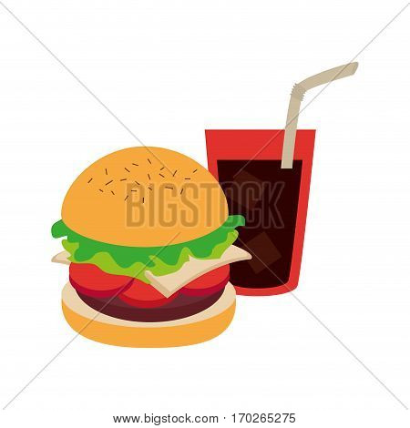 hamburguer with coke soda with straw vector illustration