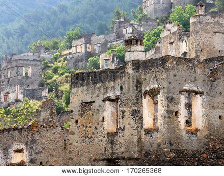 Ghost town of Kayakoy (Turkey) v v