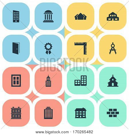 Set Of 16 Simple Architecture Icons. Can Be Found Such Elements As Residential, Academy, Structure And Other.