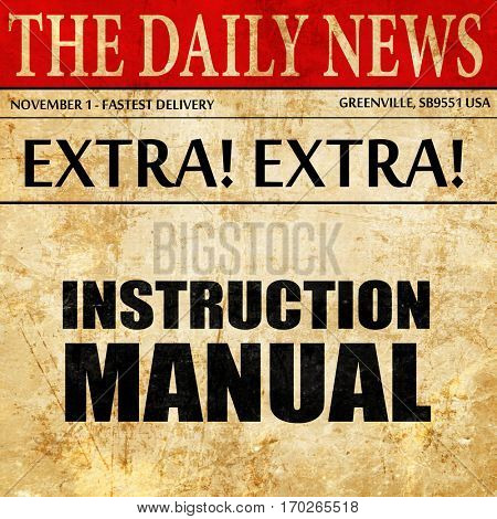 instruction manual, newspaper article text