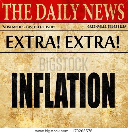 Inflation sign background, newspaper article text