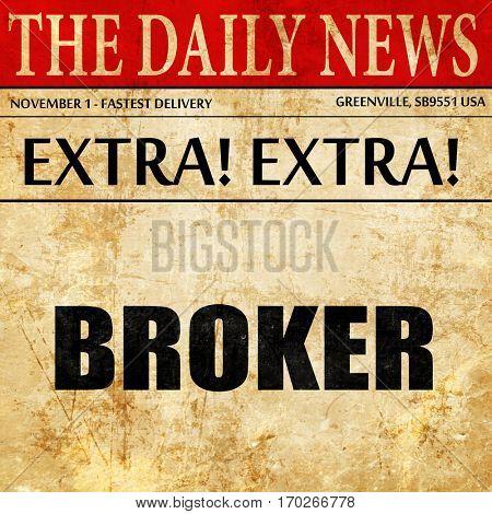 broker, newspaper article text