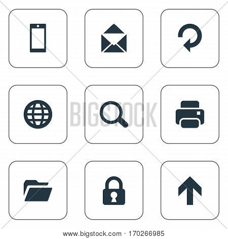 Set Of 9 Simple Apps Icons. Can Be Found Such Elements As Web, Smartphone, Refresh And Other.