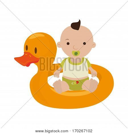 Inflatable duck with baby boy vector illustration