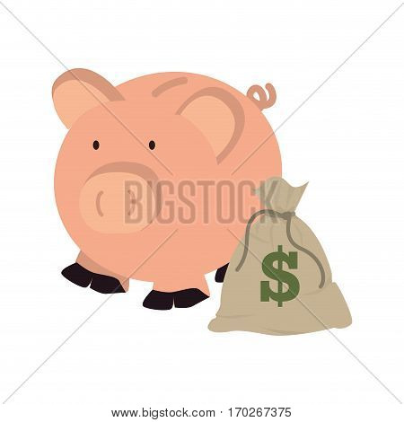 moneybox in shape of pig with bag and dollar symbol vector illustration