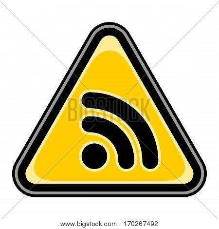 Use it in all your designs. Quick and easy recolorable vector illustration. Yellow and black triangular sticker with Wi-Fi signal icon or RSS sign. Triangle hazard, warning, danger symbol