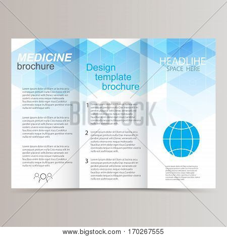 brochure design template tri-fold vector abstract triangles eps10