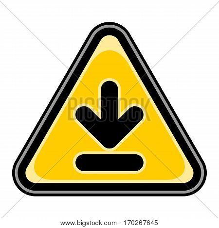 Use it in all your designs. Quick and easy recolorable vector illustration. Yellow and black triangular sticker with arrow download sign. Triangle hazard, warning, danger symbol