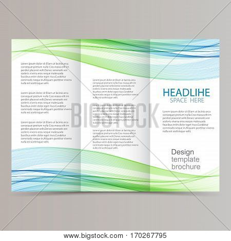 trifold brochure design with beautiful blue and green wave