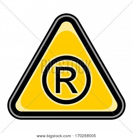 Use it in all your designs. Quick and easy recolorable vector illustration. Yellow and black triangular sticker with registered trademark sign. Triangle hazard, warning, danger symbol