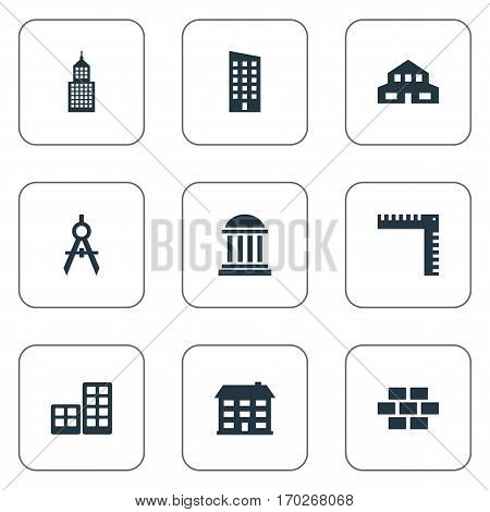 Set Of 9 Simple Construction Icons. Can Be Found Such Elements As School, Stone, Floor And Other.