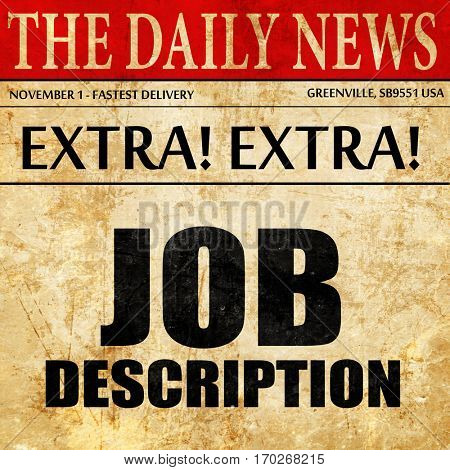 job description, newspaper article text