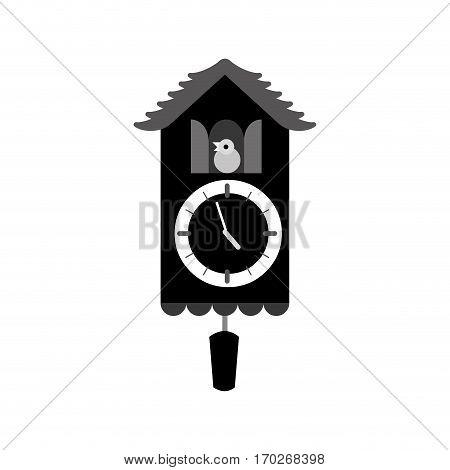 silhouette antique bird clock icon vector illustration