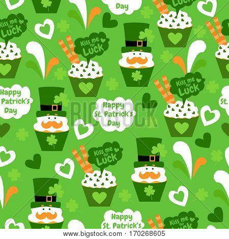 Sweet seamless pattern with cupcake, cream, mustache, hearts, wafer rolls, hats and clover. Happy St. Patrick's Day. Funny background. Kiss me for luck.