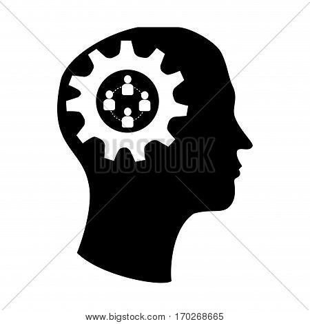 silhouette brain in head with gear and team work icon vector illustration