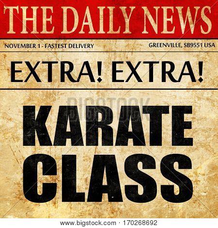 karate class, newspaper article text